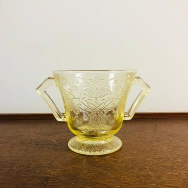 Vintage Hazel Atlas Florentine 2 Depression Glass Yellow Floral Sugar Bowl, Clear Yellow with Floral Design, no lid by BlackcurrantPreserve