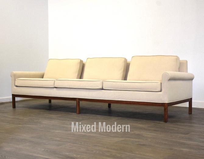 Mid Century Walnut White Beige Sofa by mixedmodern1