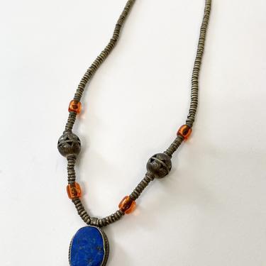 Lapis Beaded Bronze Necklace