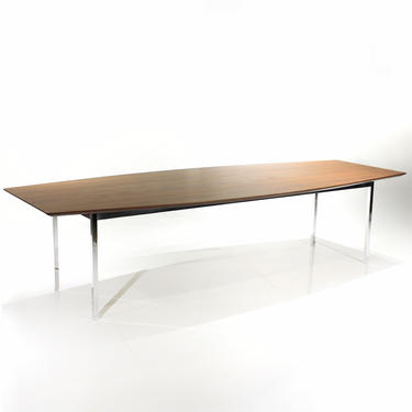 Florence Knoll Conference Table Dining Table Extra Long Mid Century Modern Walnut Chrome by ReVisionFurniture