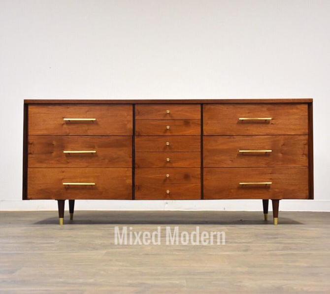 Walnut & Brass Dresser by John Stuart by mixedmodern1