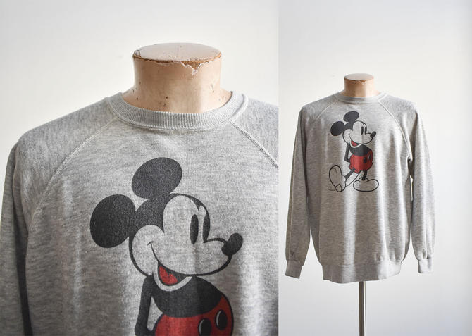 1980s Gray Mickey Mouse Raglan Sweatshirt by milkandice