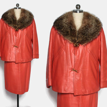Vintage 60s Bonnie Cashin 2pc Suit / 1960s Creamy Red Leather Jacket & Skirt Set with Fur Collar Ensemble by LuckyDryGoods