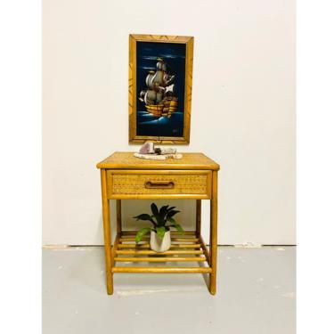 MCM Bamboo Ratan Side Table, Vintage Boho Night Stand by VivaLaVintagedotTX