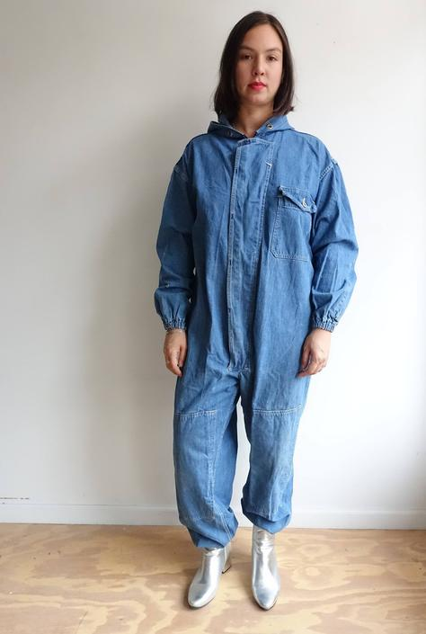 Vintage 60s Hooded Denim Coveralls/ M Setlow Workwear Jumpsuit / XL by bottleofbread