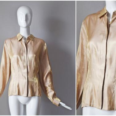 vtg 90s Silk Cotton Club gold metallic blouse | y2k 1990s button down shirt | size large | womens L top by PinkhamRoadRetro