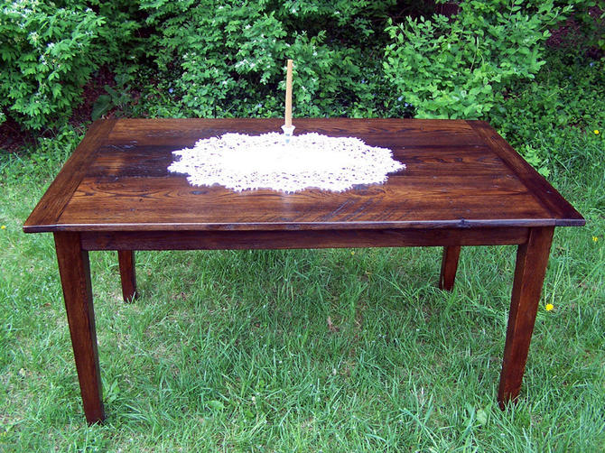 "60"" Wormy Chestnut Farm Table with Extension by BarnWoodFurniture"