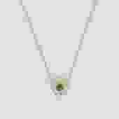 Aurora Round Emerald & Diamond Halo Necklace