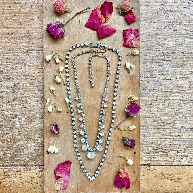 Vintage 90s Rhinestone Necklaces Prom Jewelry Sparkly Necklace Glam Girl Bridal Wedding Accessories by LoveItShop