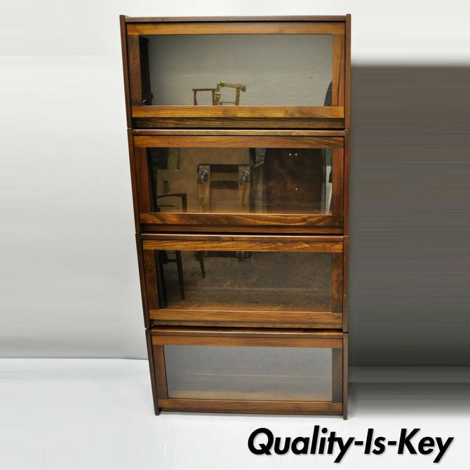 Four Section Vintage Pine Wood & Glass Barrister Stack Stacking Lawyers Bookcase