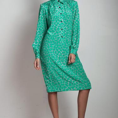 vintage 70s secretary shirt dress slinky damask green abstract print pockets shoulder pads long sleeves ONE SIZE S M L small medium large by shoprabbithole