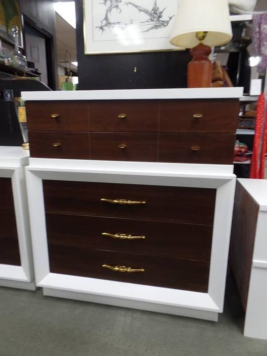 Mid-Century Modern white and walnut highboy dresser