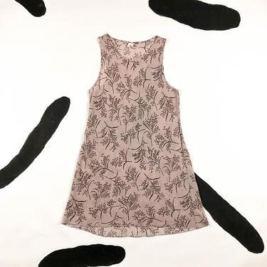 90s Calvin Klein Blush Pink and Brown Floral Sheer Tank Dress / Medium / Neutrals / Grunge / A Line / Delias / Sassy Magazine / M / Clueless by badatpettingcats