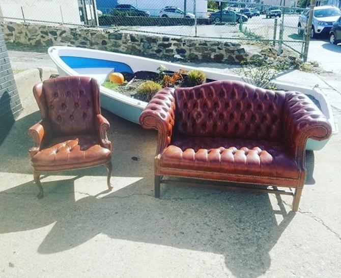 Leatherette chesterfield love seat. Leatherette tufted arm chair.