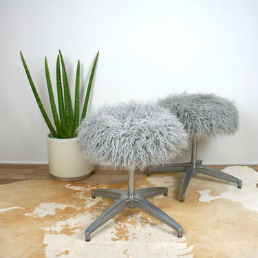 60s Vintage MID CENTURY MODERN Faux Mongolian Fur X Base Pair Stools Ottomans Footstools Chairs 1960s by ModernBOHOVintage