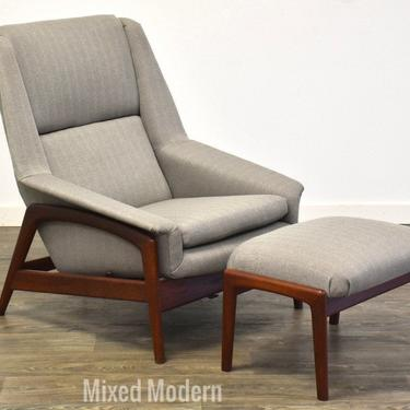 Folke Ohlsson for Dux Teak Grey Reclining Lounge Chair and Ottoman by mixedmodern1