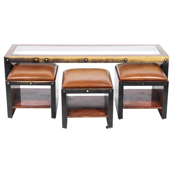 Timothy Oulton Modern Industrial Table and Ottoman Stools Set