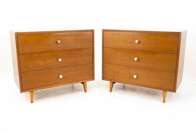 George Nelson for Herman Miller Mid Century Walnut 3 Drawer Dresser Chest - Pair by ModernHill