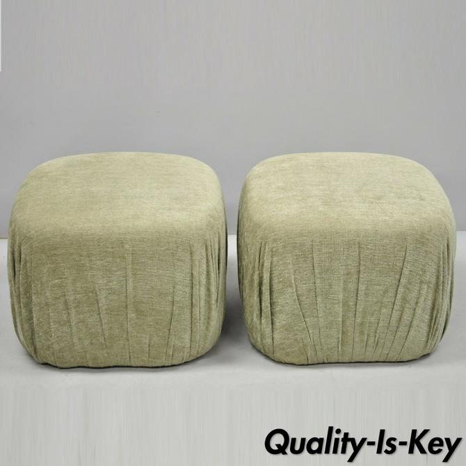 Pair of Modern Green Upholstered Pouf Ottoman Stools by Precedent Sherrill