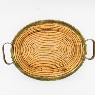 Beautiful Vintage Mid-Century Modern Round Brass and Woven Rattan / Bamboo Tray by PortlandRevibe