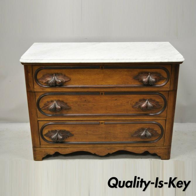 Antique Eastlake Victorian Marble Top Chestnut Dresser with Fruit Carved Pulls