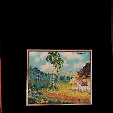 Vintage Original Oil Painting on Board VINALES Cuba Country Scene with Palm Trees Artist Signed Manuel Alonso by SwankyChaperooo