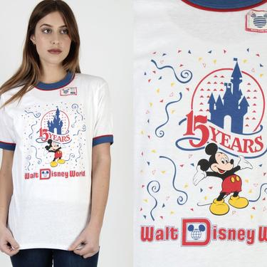 NWT 1986 Mickey Mouse T Shirt / White Disneyland Deadstock T Shirt / 80s Disney Cartoon Castle Rainbow 50 50 Ringer Tee by americanarchive