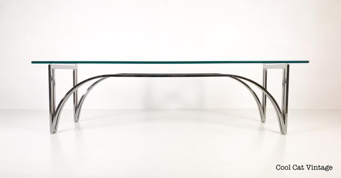 Modern Rectangular Chrome Glass Top Coffee Table, Circa Late 1960s - *Please see notes on shipping before you purchase. by CoolCatVintagePA