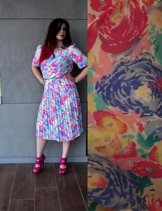80s Prom Dress | Pink Dress | Drop Waist Dress | Floral Print Dress ...