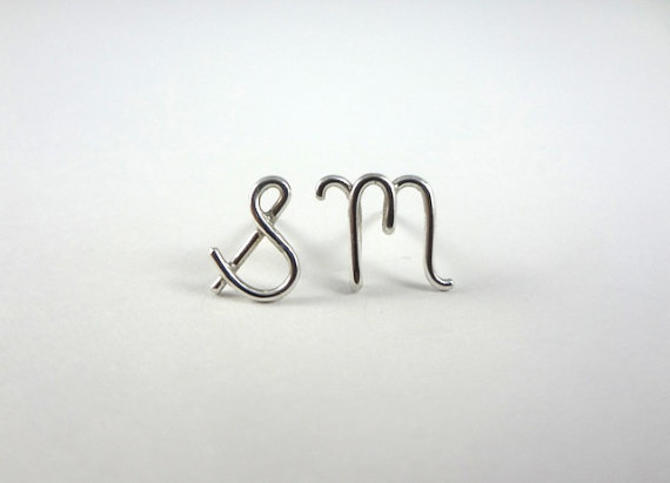 Silver Initial Earrings by Sarah Cecelia FREE SHIPPING Silver monogram earrings by SarahCecelia