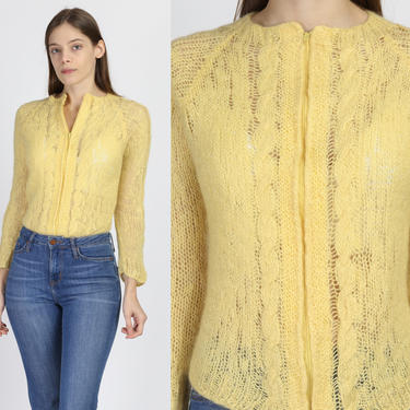 70s Boho Yellow Knit Zip Up Sweater - Small   Vintage Open Weave Hippie Cardigan by FlyingAppleVintage
