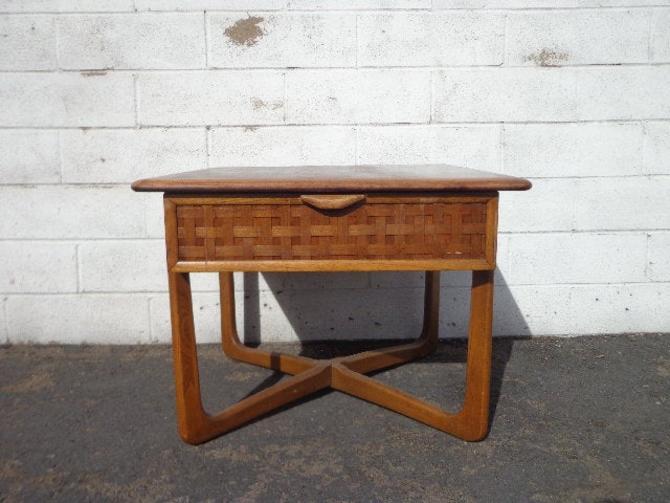 Mid Century Modern Table Lane Perception Accent End Table Storage Walnut Wood MCM Eames Living Room Midcentury Retro Mod Danish Modern by DejaVuDecors