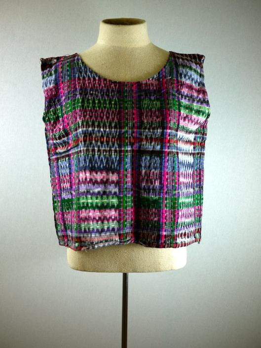 Colorful Washed Out Plaid Boxy Crop Top by citybone