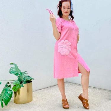 Pink Terry Cloth House Coat Dress \/ Med