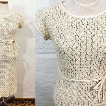 Vintage Julie Miller Dress Crochet Lace Wedding Sundress Sun Dress Summer 70s 1970s Beige Cream White Short Sleeves Medium Small by CheckEngineVintage