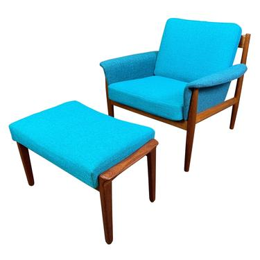 Vintage Danish Mid Century Modern Teak Lounge Chair and Ottoman Set by Grete Jalk for France & Son by AymerickModern