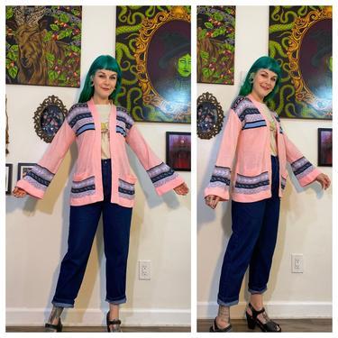 Vintage 1970's Pink Flared Sleeve Cardigan by SurrealistVintage