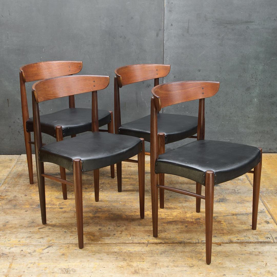 4 Vintage Mid Century Danish Teak Dining Chairs Set Four