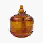 Chinese Liuli Crystal Glass Pate-de-verr Golden Yellow Round Jar cs1593E by GoldenLotusAntiques