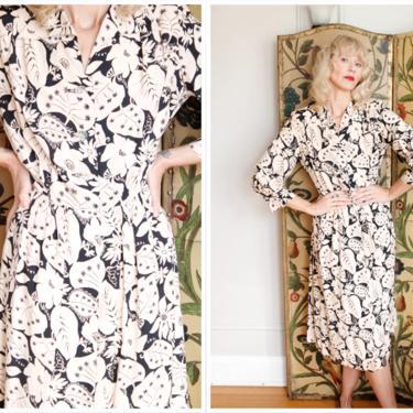 1940s Dress // Bold Leaf Mansford Rayon Dress // vintage 40s dress by dethrosevintage