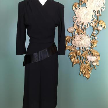 1940s peplum dress, black rayon crepe, vintage 40s dress, film noir style, old Hollywood, size small, asymmetrical peplum, long sleeve, 26 by BlackLabelVintageWA