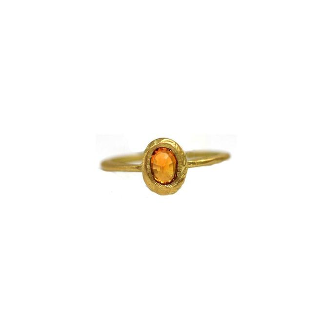 Orange Sapphire Oval Ring