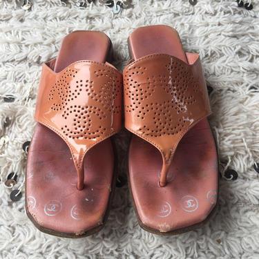 Vintage CHANEL RETRO Triple CC Perforated Logos!!  Patent leather Mules Sandals Flip Flops Slides Slip On Wedges Clogs eu 38 us 7 - 7.5 by MoonStoneVintageLA