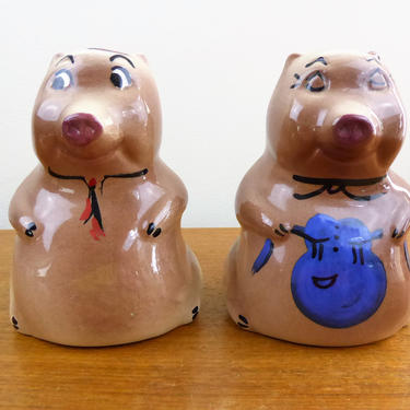 Vintage Man Woman Pig Range Shakers | Salt Pepper | Handpainted | 1940s 1950s | GORGE by TheFeatheredCurator