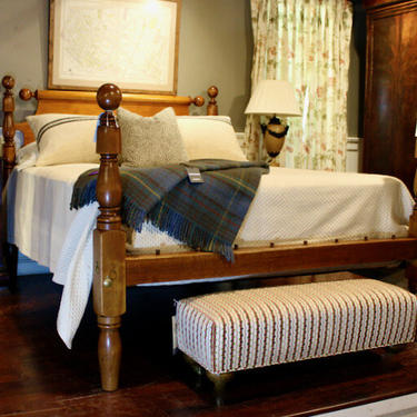 Ball & Bell Bed in Maple, Original Posts Circa 1830 ~ Resized to Queen