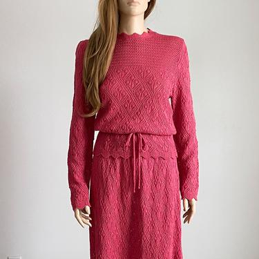70s two piece pink knit set | crochet dress | knit skirt and sweater by VINandMUM