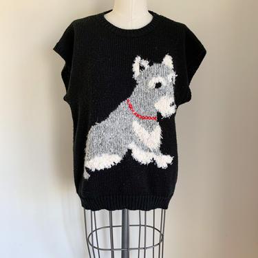 Vintage 1990s Black Schnauzer Sweater Vest / L by MsTips