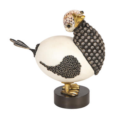 Roberto Estevez Ostrich Egg and Sea Shell Bird Sculpture 1968