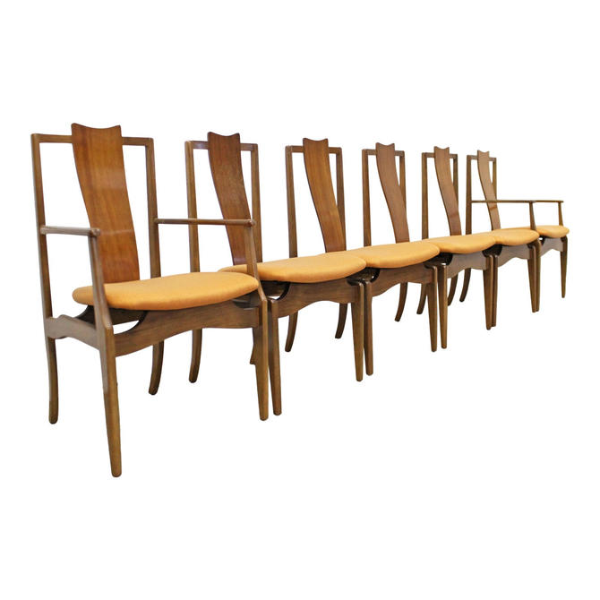Set of 6 Mid-Century Danish Modern Floating Seat Sculpted Dining Chairs by AnnexMarketplace