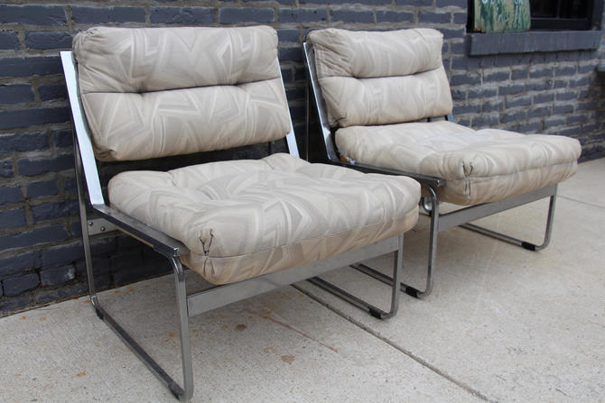 Mid-Century Modern Chrome Armless Lounge Chair
